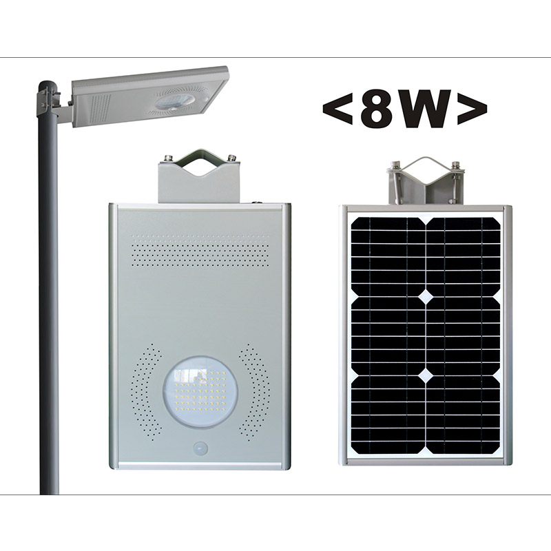 8w led solar powered  street light with pole
